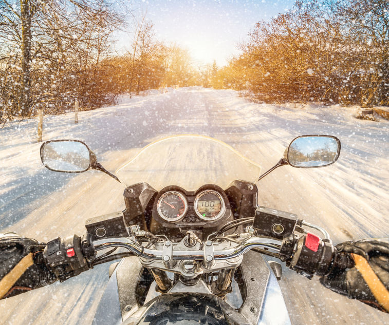 riding motorcycle in Michigan winter